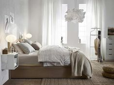 IKEA Bedroom Furniture has so many designs and models with good quality. You could find a lot of furniture collections in IKEA including the details and specifications. Ikea Bedroom, Bedroom Bed, Bedroom Furniture, Bedroom Decor, Light Bedroom, Bedroom Ideas, White Bedroom, Ikea Beds, Master Bedroom