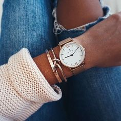 Denim look combined with campina mesh watch by Janine Jahnke I k… Trendy Watches, Cool Watches, Dainty Jewelry, Rose Gold Jewelry, Fashion Jewelry, Women Jewelry, Women's Fashion, Summer Bracelets, Bracelet Making