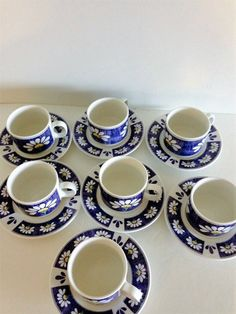 Cup And Saucers Set of Cup and Saucer Oneida Cup and Saucer Set Vintage Cup and Saucer Dinnerware Blue Cup and Saucers & Christmas Dinnerware Set Vintage Christmas Dishes Set Of 8 ...
