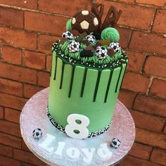 Football cake for football mad Lloyd! Football cake for football mad Lloyd! Football Birthday Cake, 12th Birthday Cake, Soccer Birthday Parties, Football Cakes For Boys, Football Themed Cakes, Soccer Ball Cake, Soccer Cakes, Ben 10 Cake, Sport Cakes
