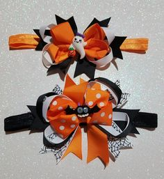 Making Hair Bows, Diy Hair Bows, Diy Bow, Diy Ribbon, Ribbon Crafts, Halloween Hair Bows, Baby Halloween, Horn Headband, Hairbows