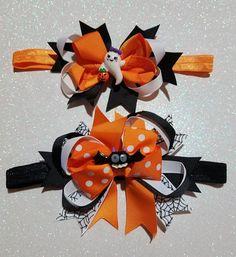 Holiday Hair Bows, Halloween Hair Bows, Baby Halloween, Diy Bow, Diy Ribbon, Ribbon Crafts, Making Hair Bows, Diy Hair Bows, Horn Headband