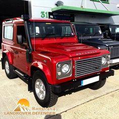 Land Rover Defender 90 Td4 with snorkel. Nice Red Color.
