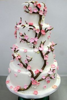 The Cherry Blossom is a metaphor for life and symoblises female beauty. Cherry blossom cake designs come in all shapes and sizes. Feast your eyes on these beautiful Cherry Blossom wedding cakes. Fancy Cakes, Cute Cakes, Pretty Cakes, Cherry Blossom Cake, Cherry Blossom Wedding, Cherry Blossoms, Pink Blossom, Blossom Flower, Amazing Wedding Cakes
