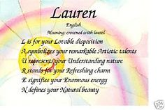 the name lauren means | Lauren Personality and Meaning of Name Print | eBay