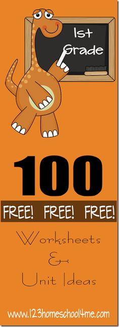 ♥♥ 100+ FREE 1st Grade Worksheets! ♥♥  Tons of free, creative, and unique 1st grade printables in math, language arts, science, social studies / history, and more! Perfect for homeschool, summer learning, and afterschool!