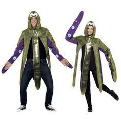 Inktvis kostuum voor volwassenen. Een super gaaf inktvis kostuum, geschikt voor volwassenen. Dit kostuum trekt u over uw hoofd en uw armen gaan in de mouwen. One size fits most.