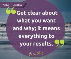 Target Tuesday -  Get clear about what you want and why; it means everything to your results.