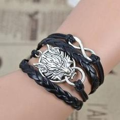 Bracelets - Wolf Infinity Plated Silver Charm Fashion Jewelry Leather Bracelet