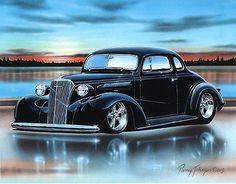 1937 Chevy Coupe Streetrod Car Art Print Black 11x14 Poster