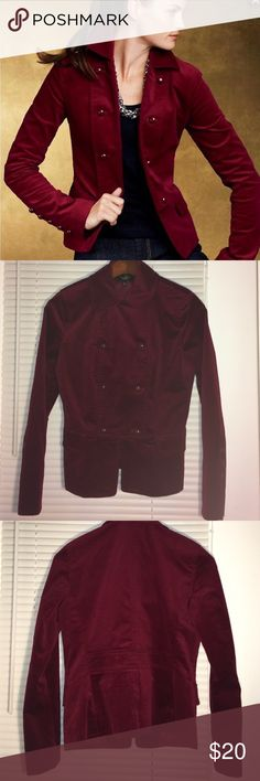 Talbots Velvet Smoking Jacket in cranberry Talbots Velvet Smoking Jacket in cranberry. Double breasted and lined (polyester). Shell is 77% cotton, 33% elastine. Never worn, still has spare buttons attached. Talbots Jackets & Coats Blazers
