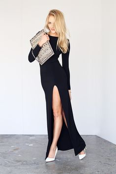 Simple long black dress with high slit