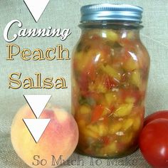 Canning Peach Salsa; recipe and instructions to making this mildly sweet and spicy salsa with peaches, tomatoes, peppers, onions, garlic, cilantro and lime. Fresh or canned option.