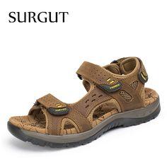 9d7c0ea8b2ac0 SURGUT Hot Sale New Fashion Summer Leisure Beach Men Shoes High Quality  Leather Sandals The Big
