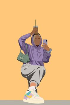 Cute Wallpaper Backgrounds, Cartoon Wallpaper, Cute Wallpapers, Portrait Illustration, Digital Illustration, 365 Kawaii, Hijab Cartoon, Sneaker Art, Digital Art Girl