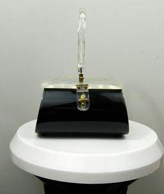 Clear & Black Lucite handbag