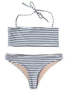 Striped Bandeau Bikini Set - WHITE AND BLACK S