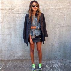 Air Max / short skirt / denim
