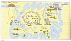 L'enfer, mythe ou réalité ?  Chez Homère, l'Hadès est situé dans une région privée de soleil, au-delà du grand fleuve Océan qui entoure la Terre. Quand les Grecs découvrirent de nouvelles parties du monde, une autre tradition localisa les Enfers au centre de la Terre : ils étaient reliés au monde des vivants par des cavernes insondables et des rivières souterraines comme l'Achéron (fleuve de l'affliction), l'un des cinq fleuves des Enfers, qui coulait dans le nord de la Grèce.