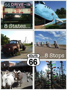 Route 66 Attractions: 8 States, 8 Roadside Stops Route Dating back to The classic American road trip, spanning across 8 States from Illinois, all the way to California on the West Coast. There is SO much to see and do. Route 66 Attractions, Route 66 Road Trip, West Coast Road Trip, Travel Route, Us Road Trip, Travel Usa, Canada Travel, Illinois, Voyage Usa