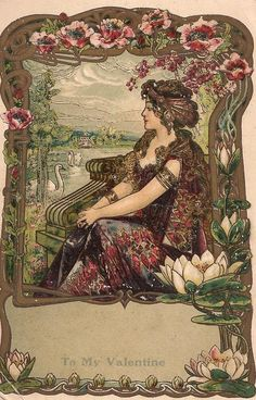 bumble button: Antique & vintage postcards images free clip art for artists and crafters Art Nouveau early california, roses,nude woman reading!