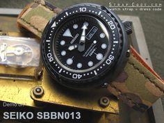Seiko Tuna Marine Master SBBN013 1000m on MiLTAT 22mm Forest Camouflage Leather of Art Watch Strap, IP Antique Bronze Buckle [22H22HBU55L2T01]