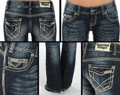 Rock & Roll Cowgirl® Ladies' Dark Vintage Boot Cut with Ivory & Light Khaki Heavy Stitching Jeans