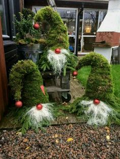 """What a Fabulous idea using pine branches to make these Christmas Gnomes for your Garden!"""