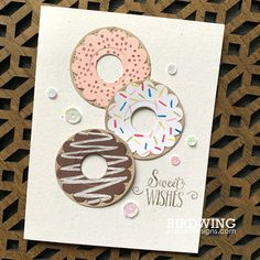 Donut Card – Stampin' Up, Hello Cupcake, stitched shapes Cute Cards, Diy Cards, Creative Gifts For Boyfriend, Visiting Card Design, Scrapbooking, Handmade Birthday Cards, Cards For Friends, Copics, Creative Cards