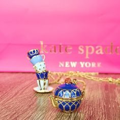 kate spade tea time locket - Google Search Tea Time, Class Ring, Tea Pots, Dust Bag, Kate Spade, My Favorite Things, Lobster Clasp, Jewelry Necklaces, Enamel