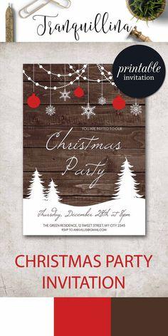 Christmas Invitation Printable, Christmas Party Invitation, Rustic Winter Invitation, Rustic Christmas Invitation, Printable Christmas Invites. tranquillina.etsy.com