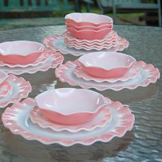 Vintage Hazel Atlas Dinnerware Pink Crinoline Piecrust Ruffle Plates