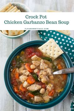 Crock Pot Chicken Garbanzo Bean Soup Recipe Crock Pot Chicken Garbanzo Bean Soup - Crock Pot Chicken Garbanzo Bean Soup recipe is a healthy soup when your sick and you want a chicken recipe soup made with fresh vegetables. Garbanzo Soup Recipe, Garbanzo Bean Recipes, Bean Soup Recipes, Chicken Soup Recipes, Chickpea Recipes, Chili Recipes, Cooker Recipes, Crockpot Recipes, Freezer Recipes