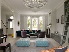 House in Wimbledon by Stephen Fletcher Architects – transformation of a semi detached Victorian Residence Victorian Terrace House, Victorian Living Room, Victorian Homes, Teal Living Rooms, Living Room Modern, Living Area, Blue Rooms, Edwardian Haus, London Living Room