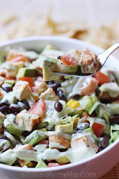 Tequila Lime Chopped Chicken Salad with Spicy Avocado Ranch Dressing Meat Salad, Salad Bar, Fruit Salad, Pasta Salad, Chicken Pasta, Chicken Salads, Chicken Recipes, Best Salads Ever, Avocado Ranch Dressing