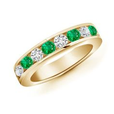 Channel Set Round Emerald and Diamond Ring