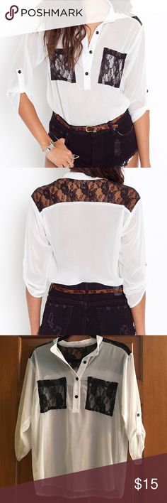 Nasty Gal Lace Pocket Blouse – Ivory – Size S Gently worn but in great condition! Sheer ivory blouse with black lace detail. Size small. 100% polyester - Dry clean or hand wash cold. No bleach - hang dry. Nasty Gal Tops Blouses