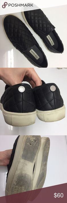 Steve Madden Ecentrcq Quilted Matte Leather Shoes Steve Madden Ecentric Ecentrcq 8.5 Black Quilted Leather Sneakers Slip On Slip Ons  Very nice condition just dirty on the bottom part but can be cleaned.  I also have 2 in size 6.5, see my other items Steve Madden Shoes Sneakers