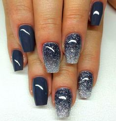 fingernails images beautiful manicure cosmos effect blue gray nails long nails glitter winternails make yourself rnrnSource by Gold Gel Nails, Grey Acrylic Nails, Almond Acrylic Nails, Gray Nails, Bling Nails, Glitter Nails, Black Glitter, Black Nail Designs, Colorful Nail Designs