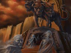 Cerbero: también conocido como Can Cerbero, era el perro de Hades, cuidaba las puertas del inframundo. Un monstruo de tres cabezas en la tradición más común y a veces con una serpiente en lugar de cola.