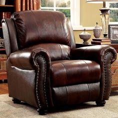 Top Grain Leather Nailhead Club Chair