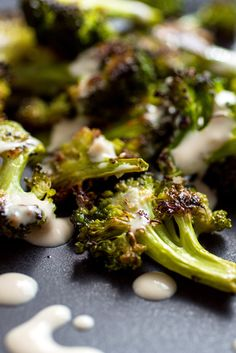 One of my favorite Middle Eastern mezze is deep-fried cauliflower served with tahini garlic sauce I decided to try the dish with broccoli, but instead of deep-frying the broccoli I roasted it, a method that requires a lot less oil The buds on the broccoli florets toast to a crispy brown, and the texture of the stalk remains crisp