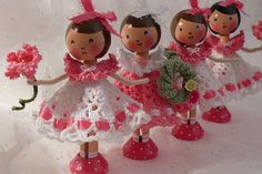 Special Edition Clothespin Dolls by creatingtreasures, via Flickr.  wish i was better at crochett these dresses are darling!