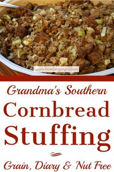 The Hypothyroidism Revolution - Grandmas Southern Cornbread Stuffing Grain, Nut Dairy Free Nut Free, Grain Free, Dairy Free, Cornbread Stuffing, Stuffing Recipes, Clean Recipes, Paleo Recipes, Paleo Diet, Holiday Recipes