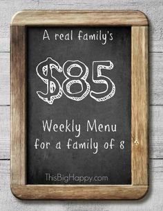 Yes, you can feed your large family for just $85 a week! This weekly menu gives you the recipes, the list, and the cost!
