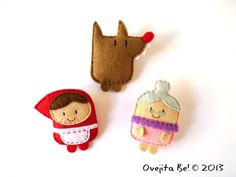 Little red riding hood cute felt brooches set fairy tale characters little doll plush brooch gift idea for girls by ovejitabe on etsy 20 00 10 ways to celebrate teacher appreciation day when schools are closed Little Red Ridding Hood, Red Riding Hood, Felt Diy, Felt Crafts, Felt Brooch, Little Doll, Felt Fabric, Felt Dolls, Hand Dyed Yarn