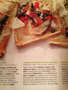 Salmon in packet with olives feta and tomato! Real simple mag