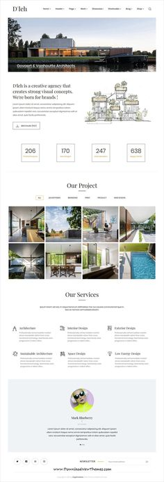 Buy D'leh - Creative Multi-Purpose HTML Template by EngoTheme on ThemeForest. D'leh – is an super Elegant and UX HTML Template which make you create awesome websites, The template is hand coded w. Home Layout Design, Modern Web Design, Page Design, Design Layouts, Design Ideas, Bootstrap Template, Html Templates, Garden Web, Modern Website