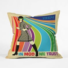 Take a trip back to 1964 with this wild throw pillow. A rainbow of slick Mod stripes makes a perfect stage for our black-and-white GoGo heroine and a fun accent for your favorite chair. Choose either p...  Find the GoGo Gal Throw Pillow, as seen in the Throw Pillows Collection at http://dotandbo.com/category/decor-and-pillows/pillows/throw-pillows?utm_source=pinterest&utm_medium=organic&db_sku=P22415