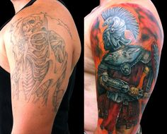 Absolutely a great piece of cover up tattoo work. On the left we have a fading outline of Death which gives way to the new full color and photo realistic tattoo a a Roman soldier. Cover Up Tattoos Before And After, Tribal Cover Up, Photomontage, Tattoo Fixes, Soldier Tattoo, Bad Tattoos, Cover Tattoo, Tattoo Art, Beste Tattoo